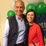 with wife Kate on election night