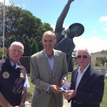 with Geoff Leitch and Stephen Baldock at the Harry Murray VC memorial statue in Evandale